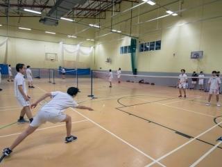 Badminton practice for international school students