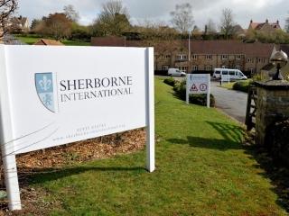Sherborne International School - entrance sign