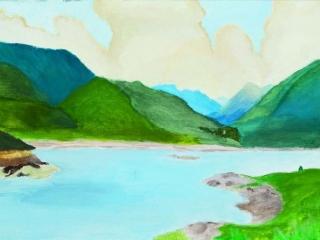 Landscape Watercolour by Karen (Year 11)