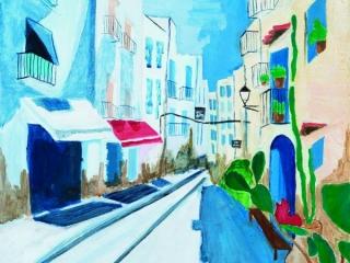 Moroccan Street Scene in Acrylic by Yuki (Year 11)