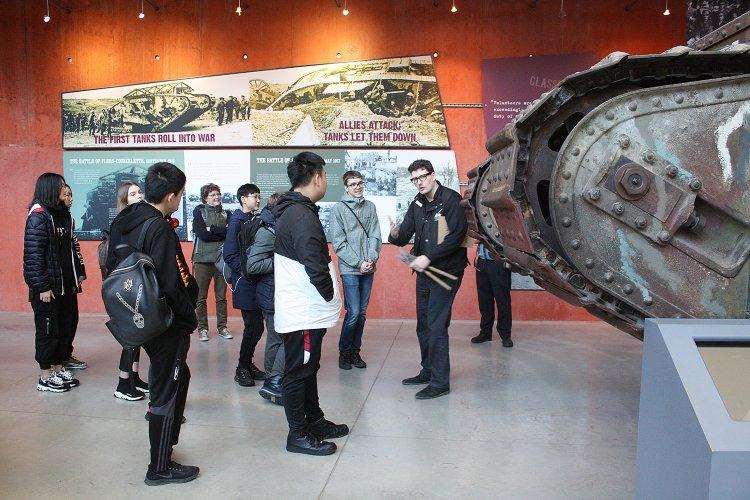 Sherborne International Students at Bovington Tank Museum